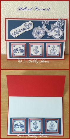 """Holland Kaart 11. Een rood-wit-blauwe A-6 kaart. Van de rode basiskaart is een strook van 5 cm gesneden. Deze is te gebruiken om te """"matten"""". Een dubbele witte basiskaart is iets kleiner gesneden en in de rode kaart geplakt. 't HobbyHoees 10 juni 2016"""