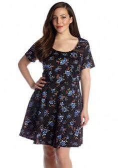 Jessica Simpson  Plus Size Print Fit and Flare Dress