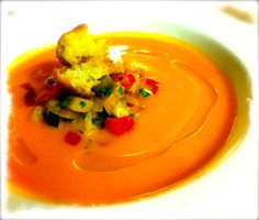 Soup du Jourat BRASSERIE in St Louis…Chilled heirloom tomato soup with ratatouille and garlic oil.
