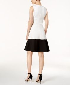 Calvin Klein Colorblocked Fit & Flare Dress - White 10