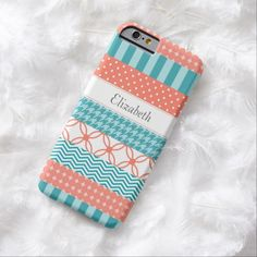 A girly coral and teal Japanese washi tape style slim #iPhone6case with trendy patterns including chevrons, polka dots, stripes and houndstooth. This cute and stylish coral and turquoise design can be personalized by adding the name of your teen girl. Flat digital printed image, not textured.