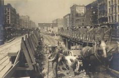 Horses helping to excavate the subway!