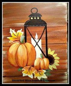 Fall latern🌠 Jersey Shore Paint and Sip Studio Fall Canvas Painting, Autumn Painting, Autumn Art, Tole Painting, Diy Painting, Painting & Drawing, Fall Paintings, Painting Pumpkins, Pumpkin Painting