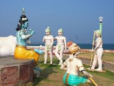 """Go: For the wonderfully whimsical sculptures of Hindu deities on the beach. """"Bheemili"""" has shallow, swimmable waters; ruins of an old Dutch fort; a fascinating Christian cemetery; and an off-the-beaten-path vibe.Stay: Best to base yourself 15 miles north in Visakhapatnam (to explore Yarada and Mypad beaches as well) in stylish, ocean-view rooms at The Park Vizag."""