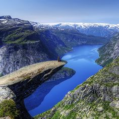 Trolltunga in Odda, Norway. I saw Salmon fish going up the valley....