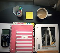 engineer-brl:  12:43pm  Monday Funday!  I hate having such a small desk but I made the best of it with a little reorganization (and coffee!)   On the list of things to do today:  1. Finish up Chapter 1 review questions  2. Outline chapter 2   3. Pray to the Gods of engineering, thanking them for my newly found organizational skills! HUH-ZAH! ⚡️