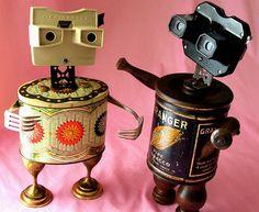 robot assemblage sculptures * BIANCA and GRANGER by Reclaim2Fame, via Flickr