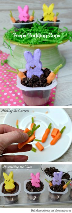 Easter Peeps Pudding Cups - A Fun & Crafty Dessert to Make with the Kids! #Easter