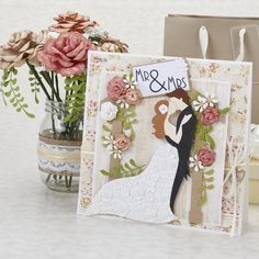 Wedding card and paper flowers from Papercraft Inspirations issue 152