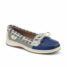 Sperry Top-Sider Women's Angelfish Boat Shoe Now for 42.45. leather. Rubber sole. Heel measures approximately 3/4. Premium tumbled leather uppers with fun sequin inserts. Hand-sewn construction with padded tongue promotes comfort and lasting wear. Stain- and water-resistant leather. Adjustable 360 lacing system ensures a secure fit. Wave-SipingTM delivers ultimate wet / dry traction with non-marking rubber outsoles