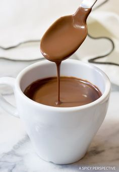 French Hot Chocolate Recipe (Chocolat Chaud) Rich, dark, and silky, this Parisian style Drinking Chocolate, is a thick gourmet hot chocolate that is hard to