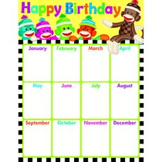 """Colorful sock monkeys are hanging out, ready to celebrate birthdays each month. Back of chart features reproducible activities, subject information, and helpful tips. 17"""" x 22"""" classroom size. Coordin"""