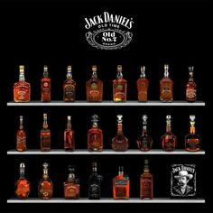 Jack Daniel's Sortiment. Liquor Drinks, Bourbon Drinks, Alcoholic Drinks, Cocktails, Jack Daniels Decor, Jack Daniels Bottle, Jack O'connell, Scotch Whiskey, Bourbon Whiskey