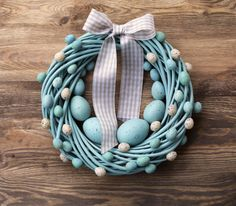 Items similar to Easter wreath turquoise&beige spring pastel holiday home decor door wall wreaths decorations egg eggs nest on Etsy, a global handmade and vintage marketplace. Easter Wreaths, Holiday Wreaths, Diy Ostern, Easter Holidays, Home And Deco, Diy Wreath, Easter Crafts, Easter Decor, Easter Ideas
