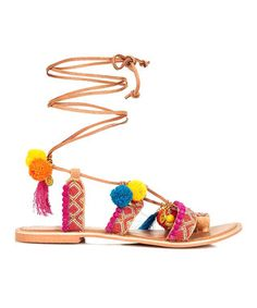 Tan & Orange Pom Pom Leather Sandal