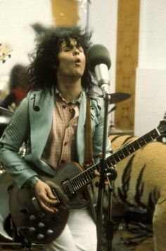 Photo of T REX and Marc BOLAN with ZEMAITIS Guitar