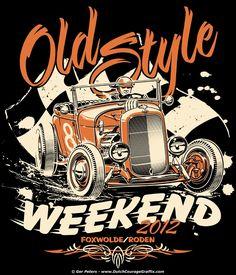 T-shirt artwork for the 2012 edition of Old Style Weekend Foxwolde/Roden - Netherlands. #hotrod #hot #rod #Ford #dirt #roadster #vintage #event #tshirt #artwork