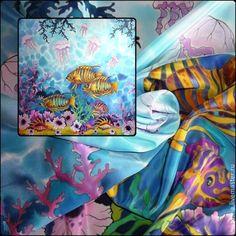 """Батик,платок-картина""""Ласковое море"""",крепдешин90-90см.Натуральный шёлк."""
