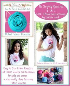 No Sew Fabric Rolled Rosettes and Rolled Rosette Necklace:s 2 in 1 by GoosieGirl | Craft Pattern | YouCanMakeThis.com