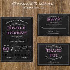 Chalkboard Traditional Wedding Collection Printable SET #1 You Pick Color Invitation