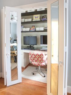 Love the french doors with mirrors idea for closet. Also love having the home office in the closet! Frees up the room for a guest bed.