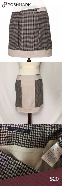 $380 Strenesse gabriele strehle houndstooth skirt German designer $380 Strenesse gabriele strehle  SIZE 4 Excellent condition!   Functional, side zip closure. Fully lined. Box tuck pleats at front. Pockets!  Navy blue, brown, tan houndstooth pattern. Wool, cotton   Purchased for $359 euro = $380   waist 31 hip 36 length 17 Strenesse gabriele strehle Skirts Mini