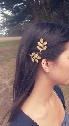 bobby pins! just glue on gold leafs (from hobby lobby)