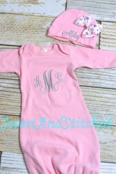 Personalized pink monogrammed newborn gown by SweetAndStitched