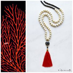 JEWELRY | Chryssomally || Art & Fashion Designer - Beautifully carved bone beads with black and red accents on a unique boho luxe necklace Bone Carving, Fashion Art, Fashion Design, Red Accents, Tassel Necklace, Boho, Beads, Unique, Jewelry