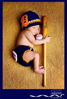 Handmade crochet Detroit Tigers inspired hat by LittleBirdBands