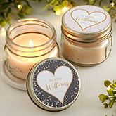 Sparkling Love Personalized Wedding Mason Jar Candle Favors Buy personalized mason jar candle favors & add any 3 lines of text! Great for weddings, bridal showers & more. Creative Wedding Favors, Inexpensive Wedding Favors, Candle Wedding Favors, Candle Favors, Beach Wedding Favors, Mason Jar Candles, Chic Wedding, Floral Wedding, Diy Wedding Souvenirs