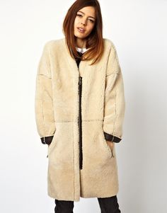 ASOS Cocoon Zip Through Shearling Coat