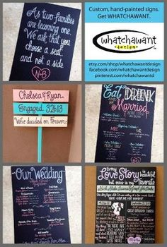 PIN NOW TO FIND LATER! Get every single sign for your wedding! Ring bearer signs, yard signs, wedding program, seating plan poems, wedding menu boards and more! Chalkboard inspired signs and wooden signs. Vintage, shabby chic, romantic, distressed, and more! by Divonsir Borges