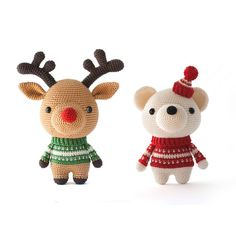 Two cute Amigurumi patterns for Christmas! Rudolph the Reindeer and Pjotr the Polar Bear www.mariskavos.nl