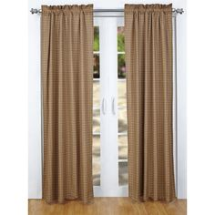 """The Missboro Curtains feature a burgundy, navy and tan plaid fabric. Lined with white cotton. Single fabric; Machine stitched; Scalloped edge. Features 2"""" header and 3.25"""" rod pocket."""