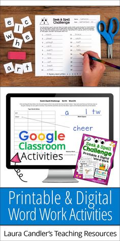 Seek & Spell Challenge is an engaging word work activity that's so fun your kids won't even know they're learning! Both printable and Google Classroom resources are included which makes it easy to differentiate instruction. #LauraCandler #wordwork #literacycenters #spellingactivity Classroom Resources, Learning Resources, Teacher Resources, Teacher Tips, Learning Games, Word Work Activities, Spelling Activities, Google Classroom, School Classroom