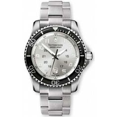Swiss Army Watch Maverick GS Large Large Silver Dial Stainless Steel Bracelet   Uhaggled.com
