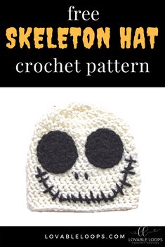 My husband, kids and I love Halloween! One of our favorite Halloween movies is The Nightmare Before Christmas so I decided to design a skeleton hat inspired by the character Jack Skellington. Disney Crochet Hats, Crochet Hats For Boys, Crochet Baby Beanie, Hat Crochet, Kids Crochet, Free Crochet, Halloween Hats, Halloween Movies, Halloween Crochet Hats
