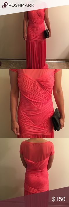 """Halstons Heritage Gown Gorgeous Halston Heritage evening gown featuring coral color ruched construction. With fitted bodice and a dropped waist give away to a pleated dramatic effect on this luxe gown. Hidden side zipper. Original price $500-600 at Saks Fifth Avenue.   Beautiful dress big in the bust for me. Never worn.   Size 4.  Bust 35-36"""" Waist 26"""" Length 60"""" Halston Heritage Dresses Maxi"""