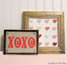 Adorable and easy step-by-step Valentines tutorial for a handmade Valentines decoration! Super quick Painted XOXO Block - perfect addition to your Valentine's mantle!