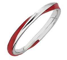 Simply Stacks Sterling Tightly Twisted Enamel Stackable Ring