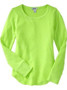 Simple waffle-knit tee in super bright green that we love!  Also in a great teal.  From Old Navy, sizes 5-16.