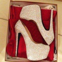 Best Women's High Heels : Gorgeous White Coppy Leather Amazing Rhinestone Platform High Heel Shoes F Platform High Heels, High Heel Boots, Heeled Boots, Shoe Boots, High Shoes, Women's Shoes, Wedding Shoes Heels, Prom Heels, High Heels For Prom