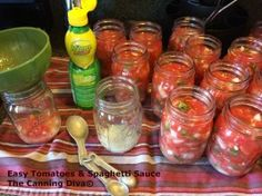 The Canning Diva: Easy Tomatoes and Spaghetti Sauce Canning 101, Canning Recipes, Freezer Friendly Meals, Meals In A Jar, Spaghetti Sauce, Preserving Food, Food Storage, Preserves, Tomatoes