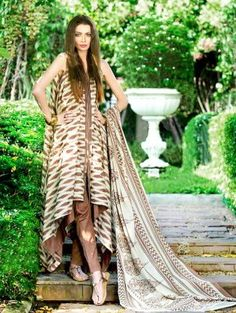 Off White and Brown Cotton Suit with Embroidery Work