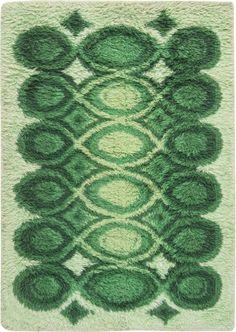 Funky Rugs, Cool Rugs, Rya Rug, Motif Vintage, Latch Hook Rugs, Green Palette, Aesthetic Room Decor, Art Deco, Living Room Carpet