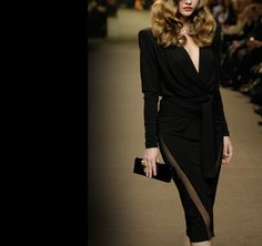 ModeWalk - Haute Couture Black Wrap Blouse and Skirt