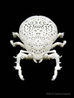 Beetle Sculpture Coleoptera Filigre small by JoshHarker on Etsy Impression 3d, Unusual Art, Unique Art, 3d Printing Diy, 3d Printed Objects, Smart Art, Insect Art, Creepy Cute, Art Object