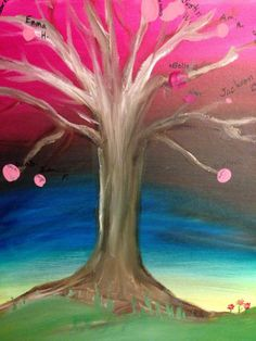 """""""Teacher Tree"""" Perfect for a first year teacher or any special teacher in your life. Bare tree is shipped to you. You can then have each student put their thumb print on it. Watch the the """"leaves"""" grow through the years and see every little person that teacher has touched! $35 Oil on Canvas"""