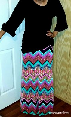 86bfc1ecfde Mystic Lake Chevron Maxi Skirt- Also in Plus Size www.gypzranch.com Modest
